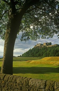 Green fields and castle in scotland